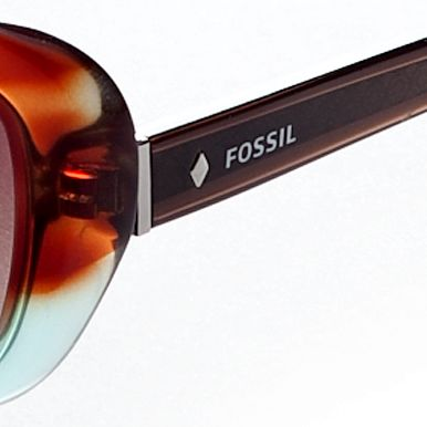 Fossil: Demi Teal/Brown Gradient Fossil Women's Cat Eye Sunglasses