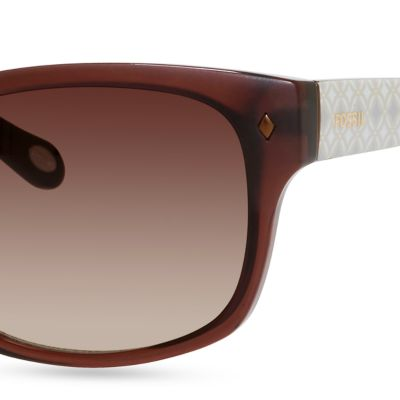 Juniors Accessories: Dark Chocolate Fossil Women's Rectangular Sunglasses