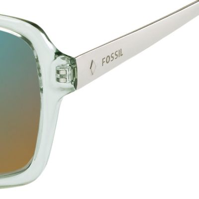 Womens Sunglasses: Turquoise Mirror Fossil Oval Combo Sunglasses