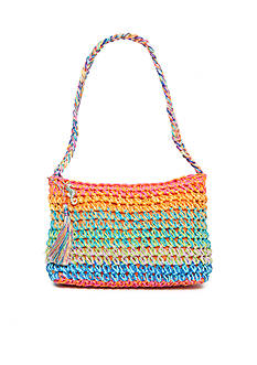 Kim Rogers Straw Striped Shoulder Bag