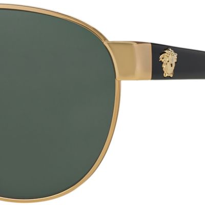Womens Sunglasses: Black Versace Medusa Aviator