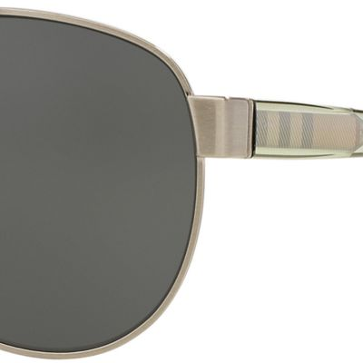 Burberry: Silver Burberry Transparent Check Core Aviator Sunglasses