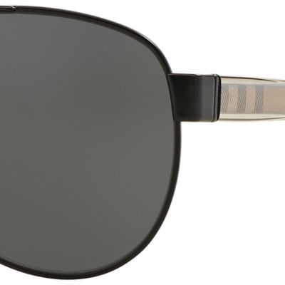 Burberry for Women: Matte Black Burberry Transparent Check Core Aviator Sunglasses