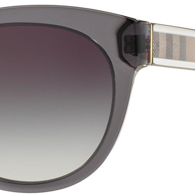 Womens Sunglasses: Dark Gray Burberry Transparent Check Core Round Sunglasses