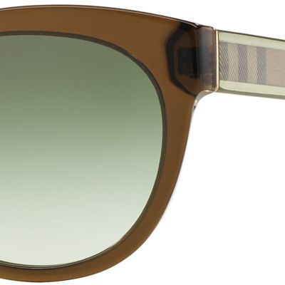 Burberry: Olive Burberry Transparent Check Core Round Sunglasses