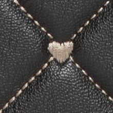 Betsey Johnson: Black/White Betsey Johnson Quilted Heart Wallet On A String