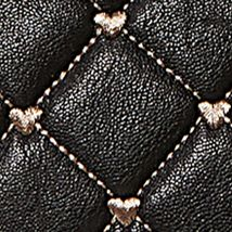 Satchel: Black/White Luv Betsey Quilted Heart Dome Satchel