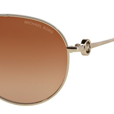 Handbags & Accessories: Michael Kors Accessories: Brown/Gold Michael Kors Zanzibar Aviator Sunglasses