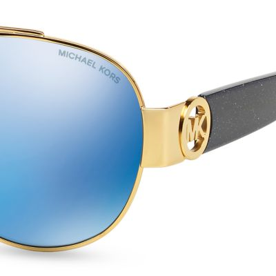 Handbags & Accessories: Michael Kors Accessories: Blue Michael Kors Tabitha II Aviator Sunglasses