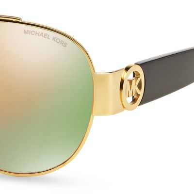 Handbags & Accessories: Michael Kors Accessories: Black/Gold Michael Kors Tabitha II Aviator Sunglasses