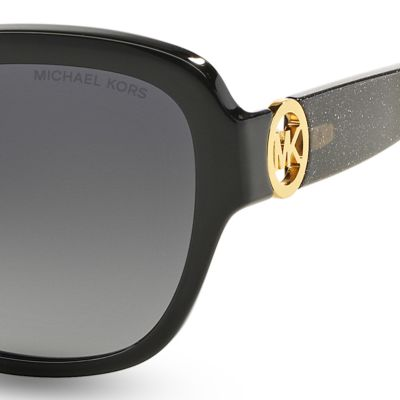 Handbags & Accessories: Michael Kors Accessories: Black Glitter Michael Kors Tabitha III Sunglasses