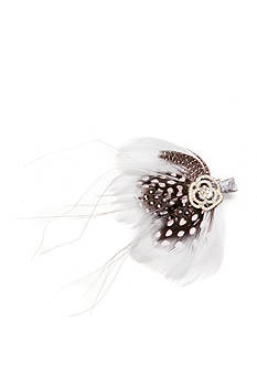Giovannio Feather and Rhinestone Flower Bridal Clip