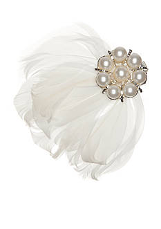 Giovannio Pearl and Feather Bridal Clip