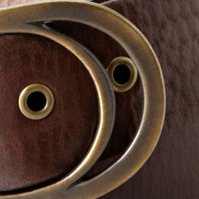Juniors Belts: Chocolate Fossil Vintage Oval Buckle