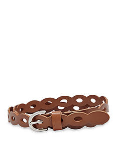 Fossil Skinny Scalloped Leather Belt