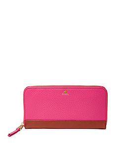 Fossil Leather Zip Clutch Wallet