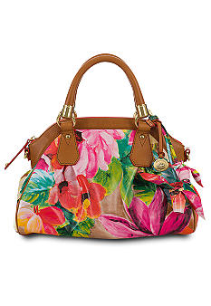 Brahmin Exclusive Lisa Pink Tropical Floral Satchel