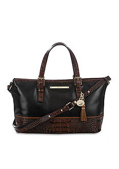 Brahmin Black Tuscan Collection Mini Asher Satchel