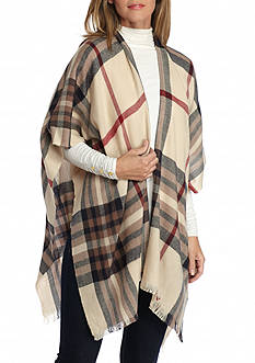 V Fraas Lightweight Plaid Ruana