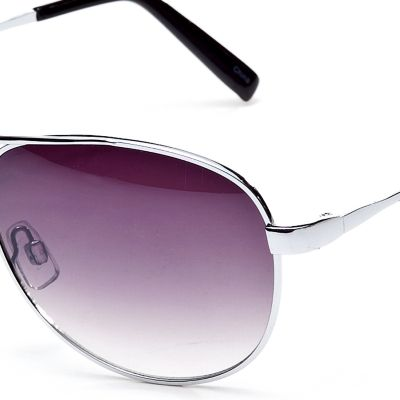 Women: Jessica Simpson Accessories: Silver Jessica Simpson Classic Metal Aviator Sunglasses