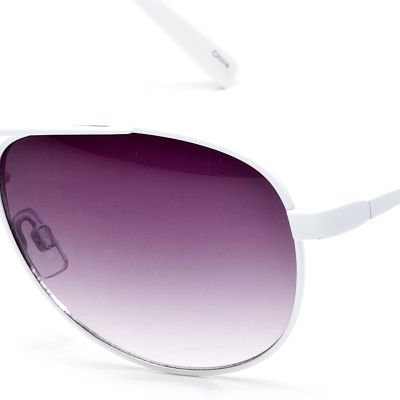 Women: Jessica Simpson Accessories: White Jessica Simpson Classic Metal Aviator Sunglasses