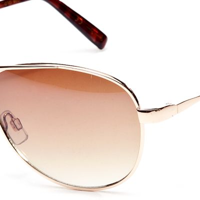 Fashion Sunglasses: Gold Jessica Simpson Classic Metal Aviator Sunglasses