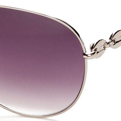 Womens Sunglasses: Silver Jessica Simpson Link Temple Aviator Sunglasses