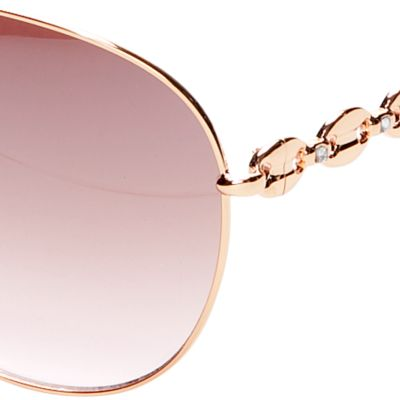 Women: Jessica Simpson Accessories: Rose Gold Jessica Simpson Link Temple Aviator Sunglasses