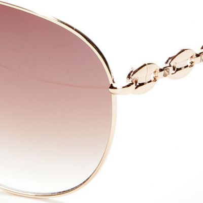 Women: Jessica Simpson Accessories: Gold Jessica Simpson Link Temple Aviator Sunglasses