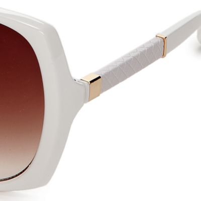 Women: Jessica Simpson Accessories: White Jessica Simpson Square Glam Sunglasses