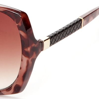 Women: Jessica Simpson Accessories: Tortoise Jessica Simpson Square Glam Sunglasses