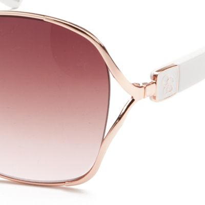 Jessica Simpson: Rose Gold / White Jessica Simpson Square Glam Sunglasses