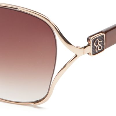 Jessica Simpson: Gold / Brown Jessica Simpson Square Glam Sunglasses