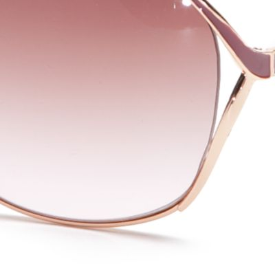 Women: Jessica Simpson Accessories: Rose Gold Jessica Simpson Vented Metal Glam Sunglasses