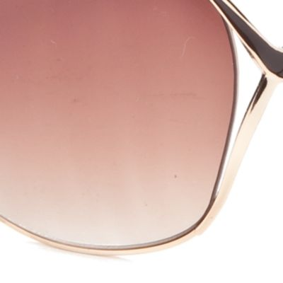 Women: Jessica Simpson Accessories: Gold/Brown Jessica Simpson Vented Metal Glam Sunglasses
