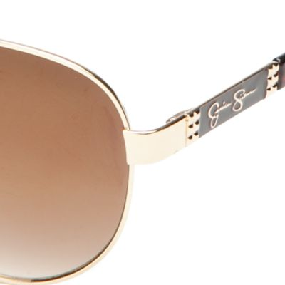 Womens Sunglasses: Gold/Tortoise Jessica Simpson Round Glam Sunglasses