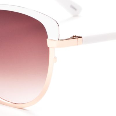 Women: Jessica Simpson Accessories: White Jessica Simpson Brow Bar Cat Eye Sunglasses