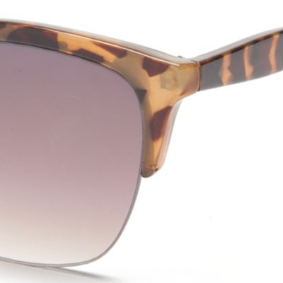 Rimless Sunglasses: Tortoise Jessica Simpson Semi Rimless Geo Club Sunglasses