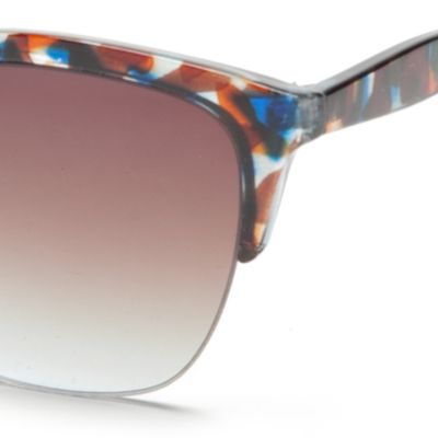 Rimless Sunglasses: Blue Jessica Simpson Semi Rimless Geo Club Sunglasses