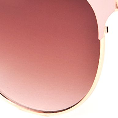 Women: Jessica Simpson Accessories: Rose Gold Jessica Simpson Retro Oval Metal Sunglasses