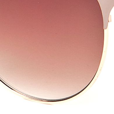 Women: Jessica Simpson Accessories: Gold Nude Jessica Simpson Retro Oval Metal Sunglasses