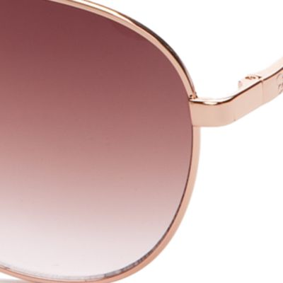 Women: Jessica Simpson Accessories: Rose Gold Jessica Simpson Metal Mirrored Aviator Sunglasses