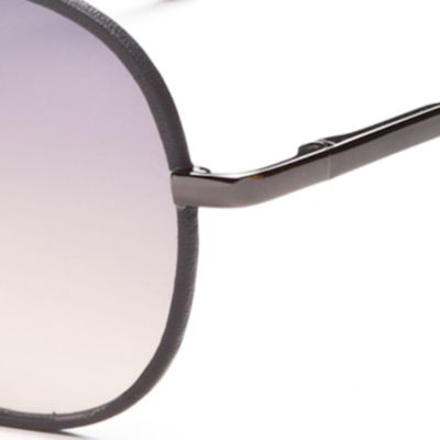 Womens Sunglasses: Silver Jessica Simpson Leather Rim Aviator Sunglasses