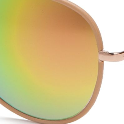 Women: Jessica Simpson Accessories: Rose Gold / Brown Jessica Simpson Leather Rim Aviator Sunglasses