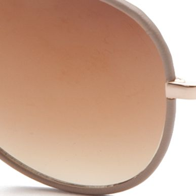 Women: Jessica Simpson Accessories: Gold / Nude Jessica Simpson Leather Rim Aviator Sunglasses