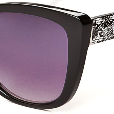 Women: Jessica Simpson Accessories: Black Jessica Simpson Lace Plastic Cat Eye Sunglasses