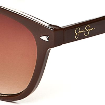 Women: Jessica Simpson Accessories: Brown Jessica Simpson Plastic Rec with Metal Bridge Sunglasses