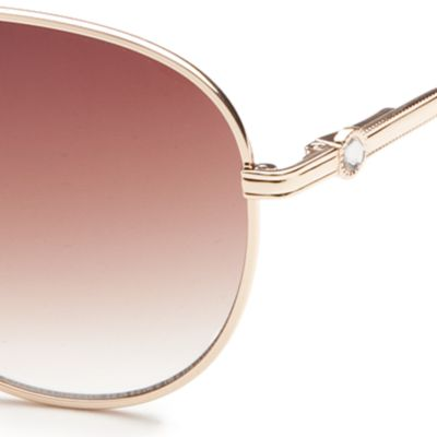 Women: Jessica Simpson Accessories: White Jessica Simpson Rhinestone Aviator Sunglasses