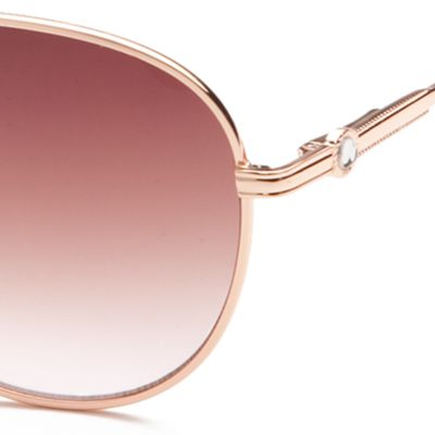 Women: Jessica Simpson Accessories: Pink Jessica Simpson Rhinestone Aviator Sunglasses