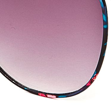 Women: Jessica Simpson Accessories: Black Jessica Simpson Round Metal Floral Sunglasses
